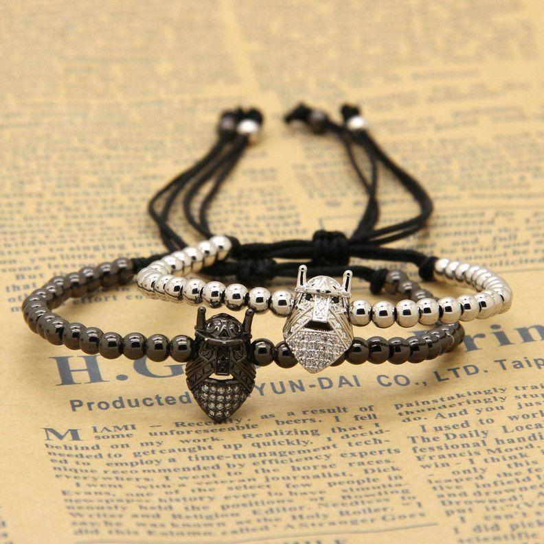 Wholesale New style atolyewolf brand fashion High quality Spartan masks Macrame Cz Beads Bracelets