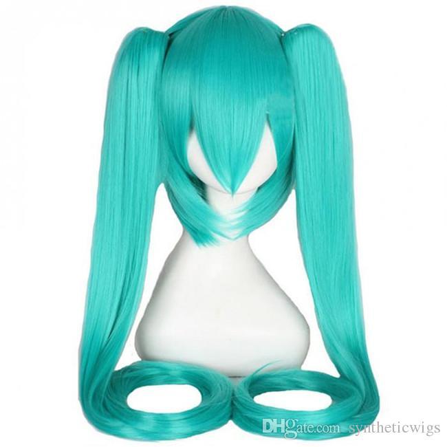 WoodFestival Clip en peluca de cola de caballo verde larga recta resistente al calor peluca de fibra sintética cosplay pelucas de pelo