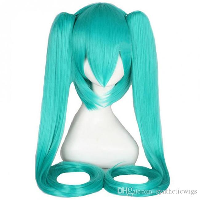 WoodFestival Clip On Ponytail wig green long straight heat resistant synthetic fiber wig cosplay hair wigs