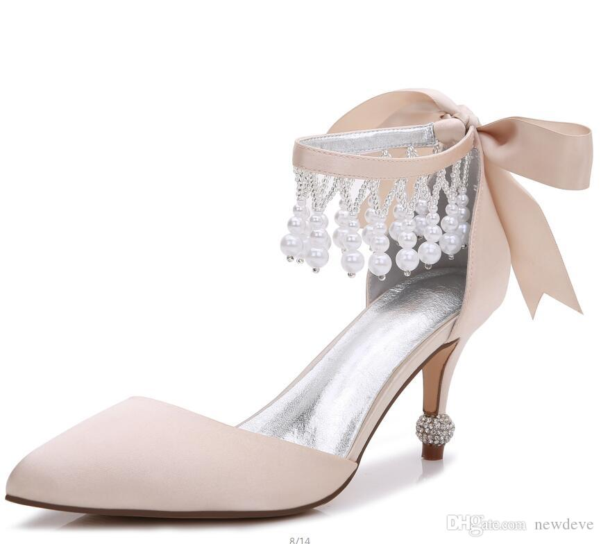 2019 Beads Bridal Shoes Pointed Toe Wedding Shoes Fashion Designed High Heels Shoes with Bow Custom Made