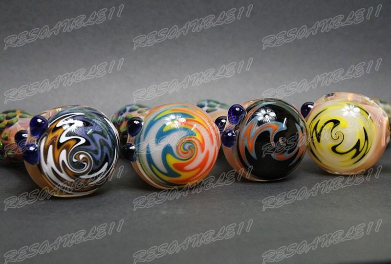 Glass pipe mano Cucchiaio Tabacco con coda del pavone testa colorato con Clear vetro di spessore