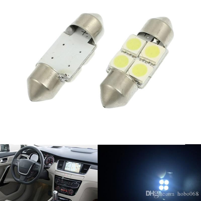 100x Car Festoon Dome Map Interior LED Bombillas Car Roof Lámpara 31MM 5050 4SMD Blanco