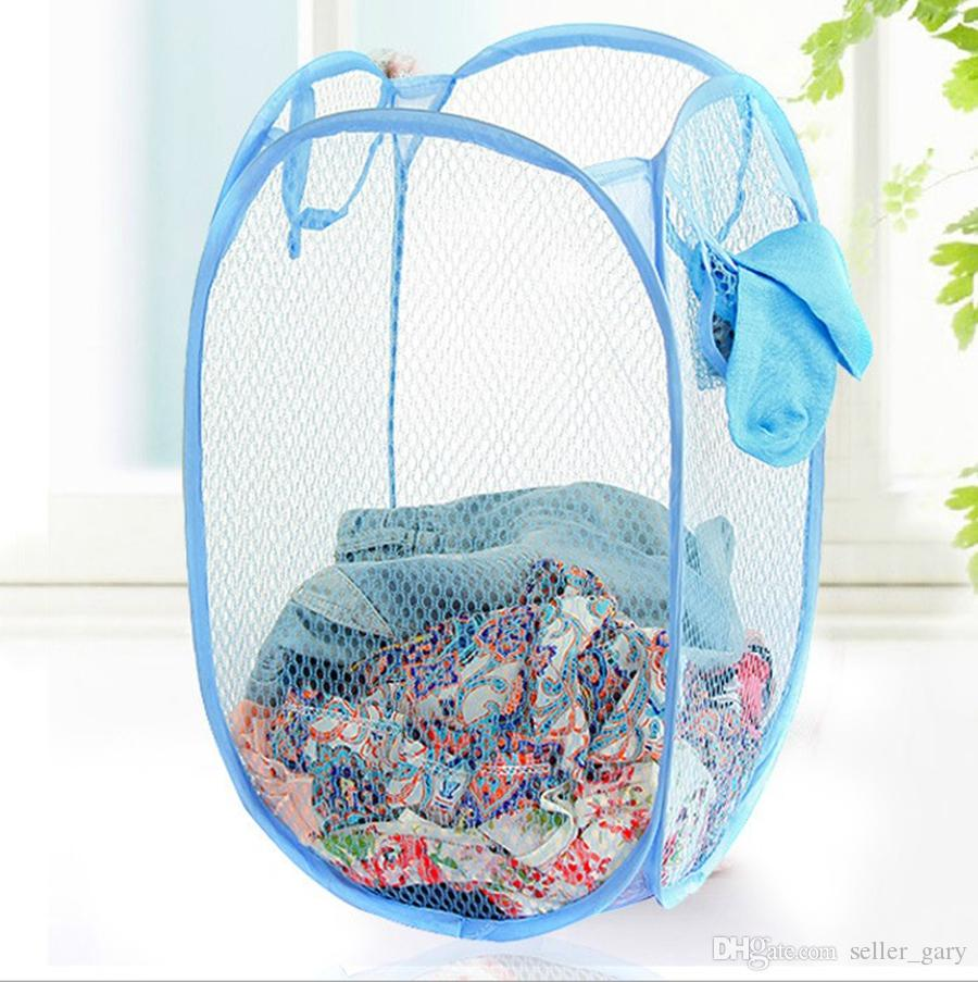 2018 Mesh Fabric Laundry Basket Foldable Pop Up Dirty Clothes Washing Laundry Basket Bag Bin H&er Storage For Home Housekeeping Storage Baskets From ...  sc 1 st  DHgate.com & 2018 Mesh Fabric Laundry Basket Foldable Pop Up Dirty Clothes ...