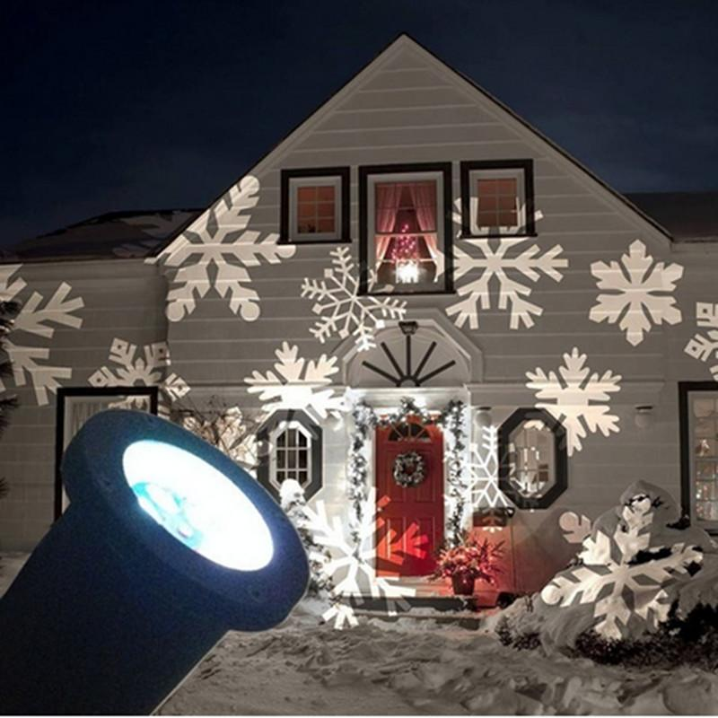 1x new arrival 2017 christmas outdoor led projector white romantic snowflake projectors white mini christmas lights outdoor holiday laser led - Led Projector Christmas Lights