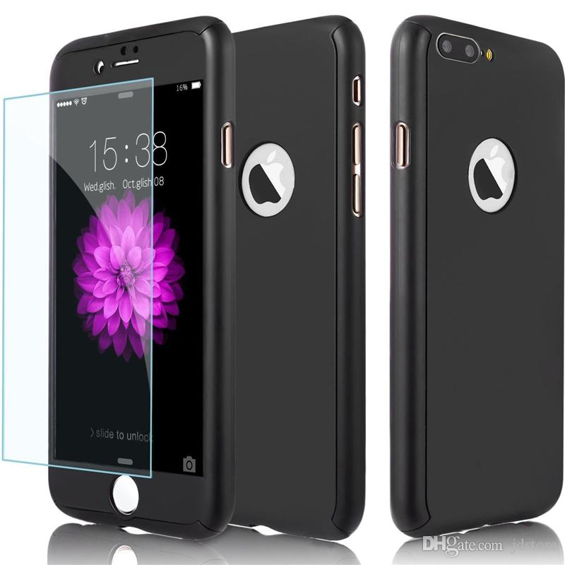 Full Body Hard Case-Auroralove Black 360 Degree Protective Front Back Case for IPhone 7 S8 S8plus with Tempered Glass Screen Protector