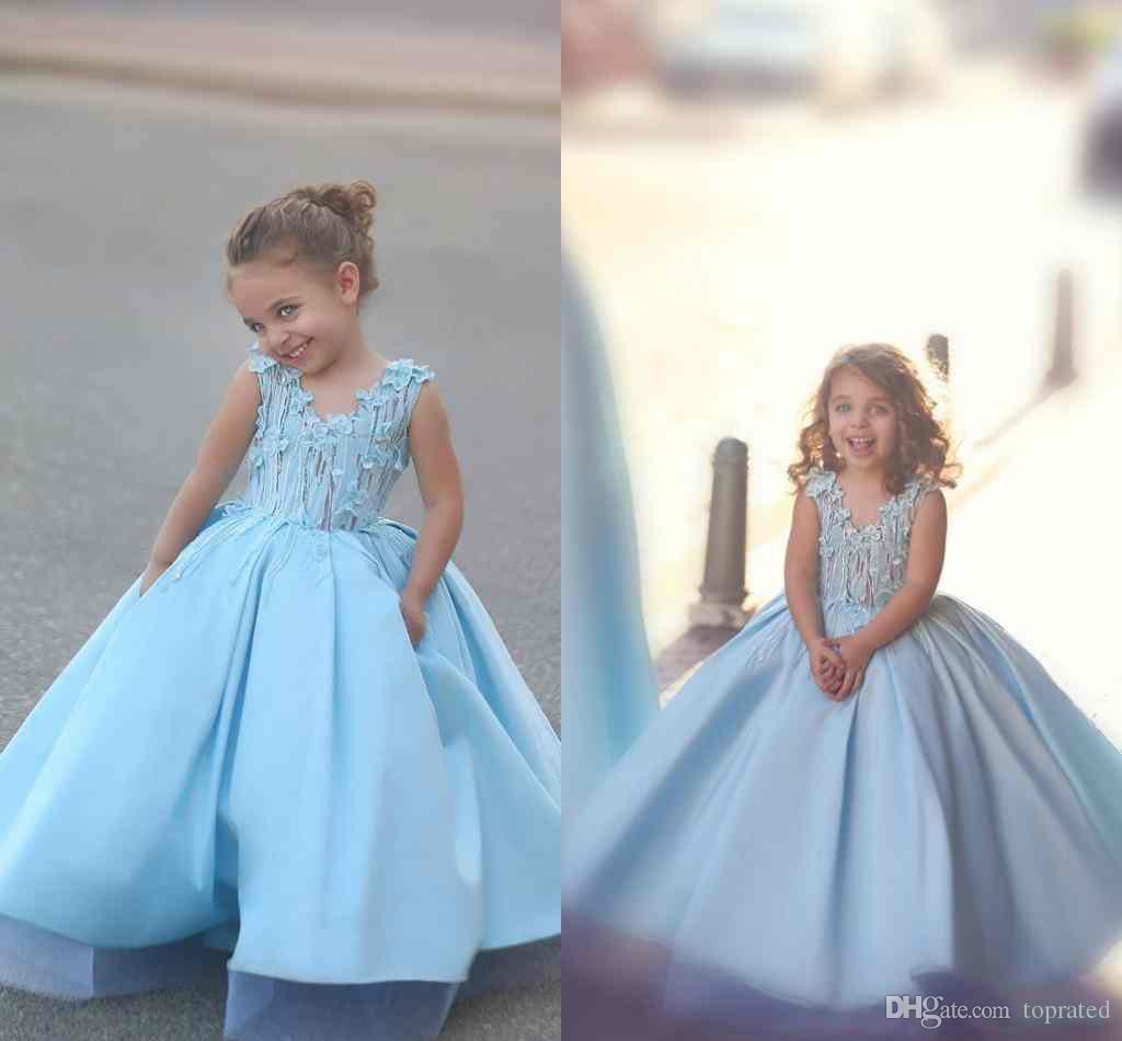 Light Blue Sweety Princess 2017 Ball Gown Flower Girl Dress Small ...