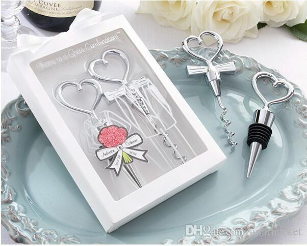 Ouvre-bouteille de vin en forme de coeur grande combinaison tire-bouchon et bouchon en forme de coeur ensembles cadeaux de mariage cadeaux = DHL FEDEX FREE