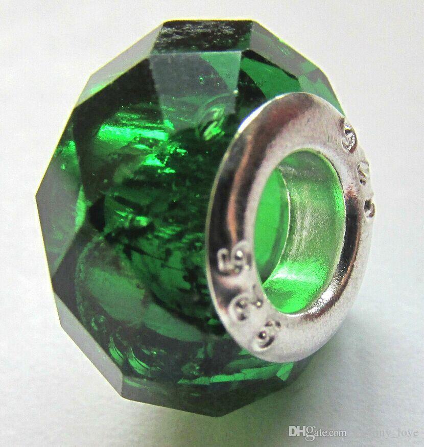 / Verde sfaccettato cristallo 925 Bead Big Hole monili che fanno i fascini allentati perle fai da te il commercio all'ingrosso del braccialetto in massa a basso prezzo
