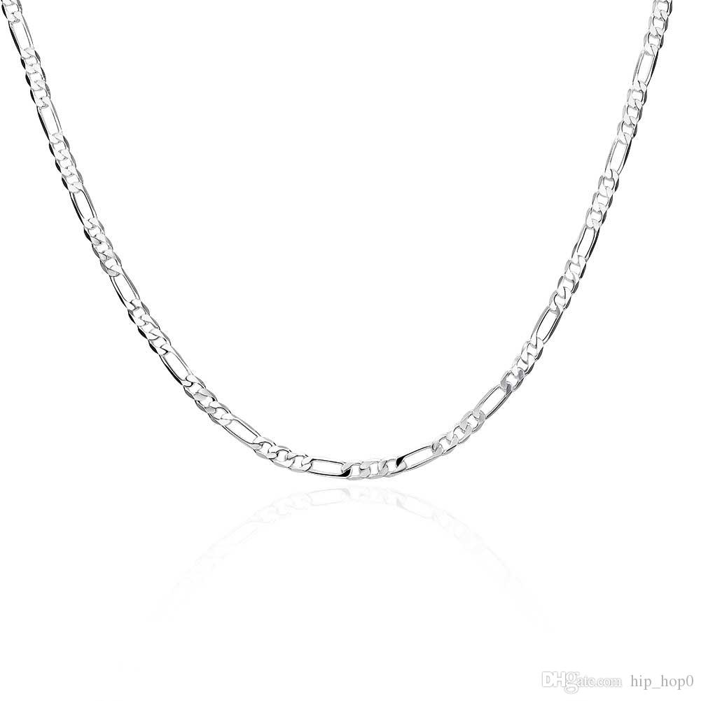 Male Models 4MM Simple 16-24inch Chain Necklace Simple Geometric Plating 925 Sterling Silver Plated Necklace High Quality Generous Gift