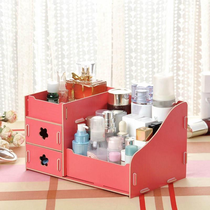 stunning How To Make A Makeup Organizer At Home Part - 16: 2019 Wooden Storage Box Jewelry Container Makeup Organizer Case Handmade DIY  Assembly Cosmetic Organizer Wood Box For Home Office Storage From  Wholedeals, ...