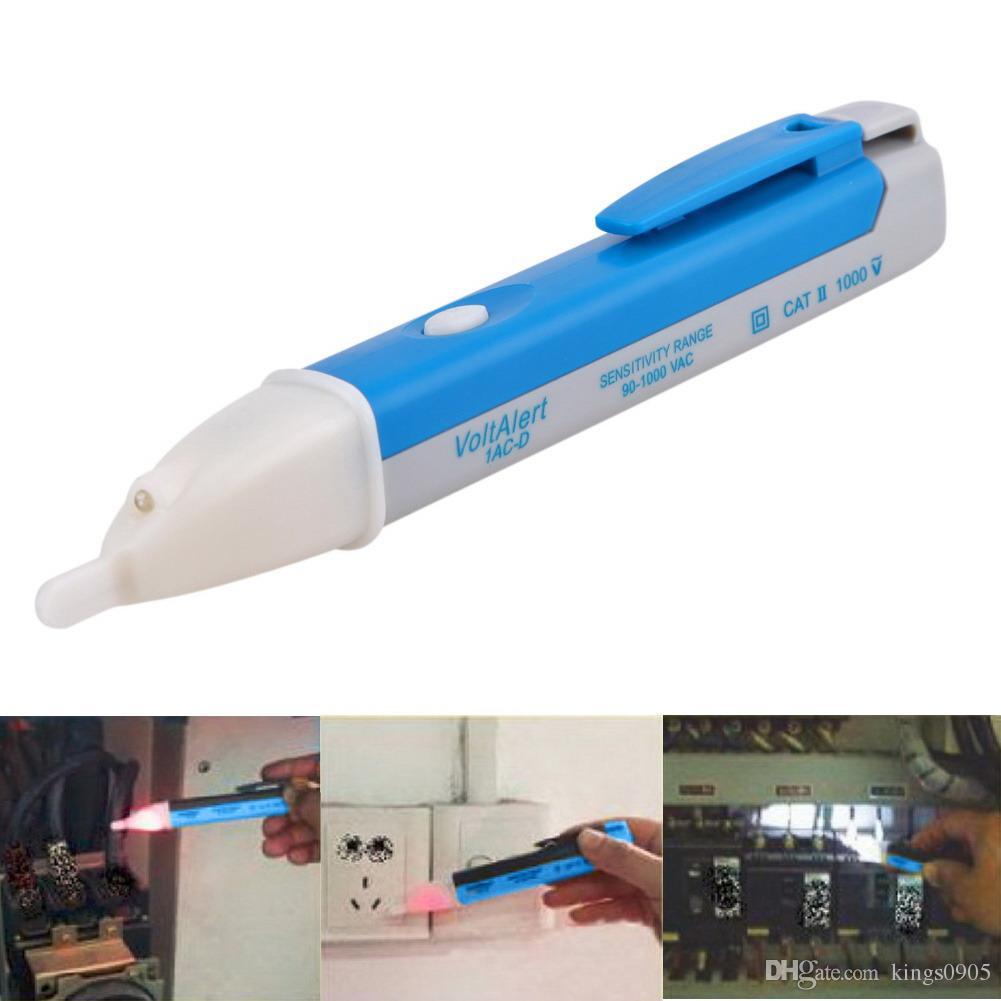 Presa elettrica a muro Presa di corrente AC Rilevatore di tensione Sensore Tester Pen Indicatore LED a luce 90-1000V Blu