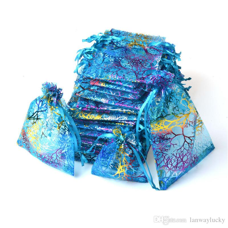 Blue Coralline Organza Drawstring Jewelry Packaging Pouches Party Candy Wedding Favor Gift Bags Design Sheer with Gilding Pattern 10x15cm