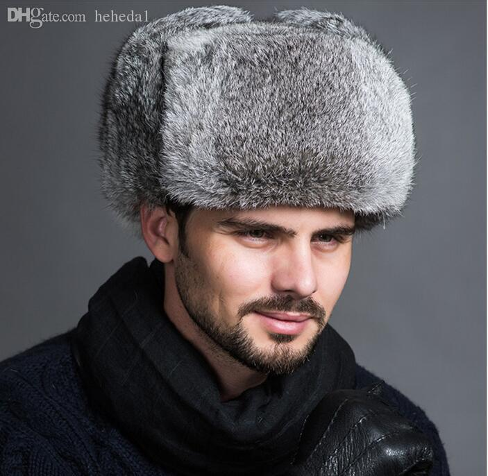 a9b7efcf0 Wholesale-High Quality Mens 100% Real Rabbit Fur Winter Hats Lei Feng hat  With Ear Flaps Outdoor Warm Snow Caps Russian Hat Bomber Cap