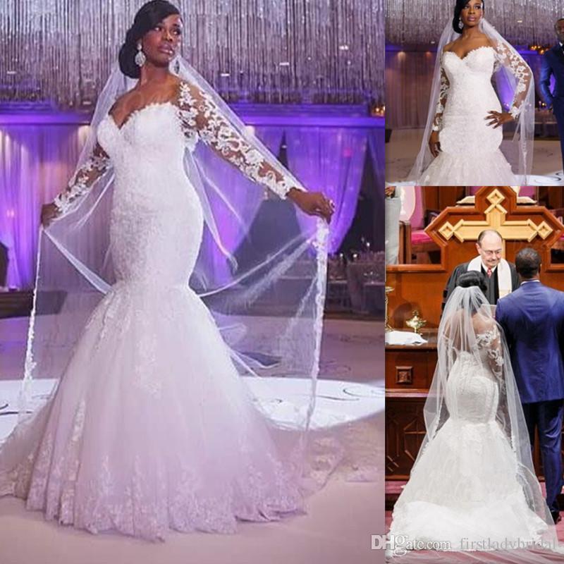 Plus Size Wedding Dresses Mermaid Style 2016 Lace Illusion Long