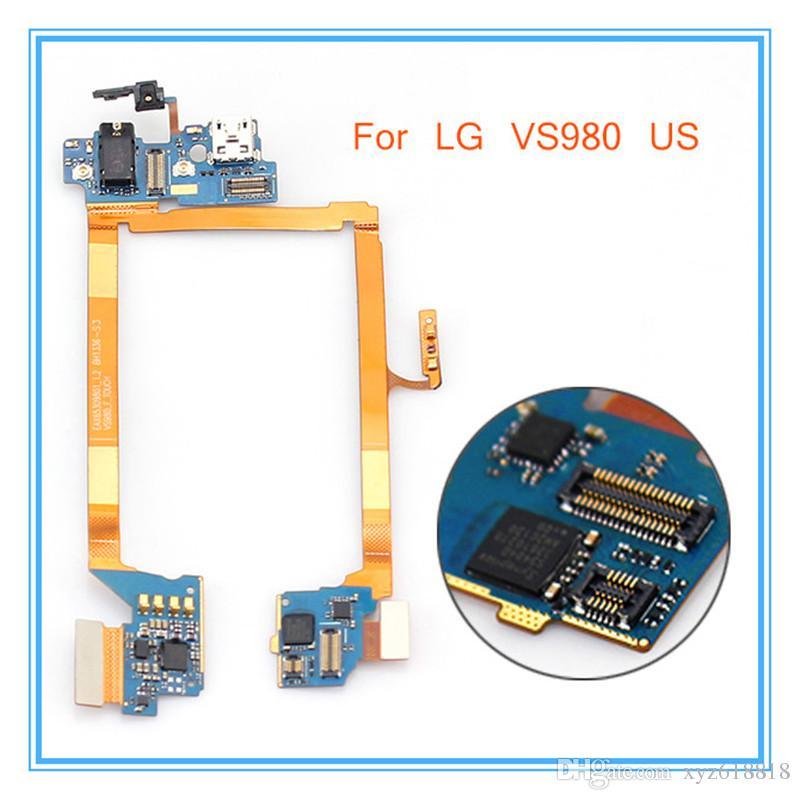 LG Optimus G2 VS980 için Mic Kulaklık Jakı USB Şarj Dock Dock Bağlantı Noktası Flex Kablo Yedek Parçalar Tüm Satış Ücretsiz Kargo
