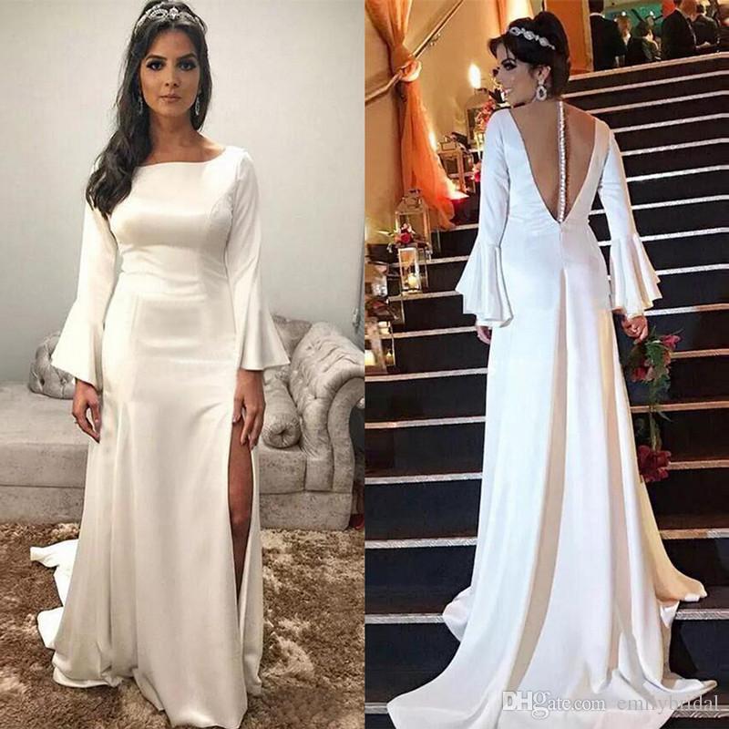 Großhandel Billige Lange Hülse Weiße Frauen Abend Kleid Bloße ...