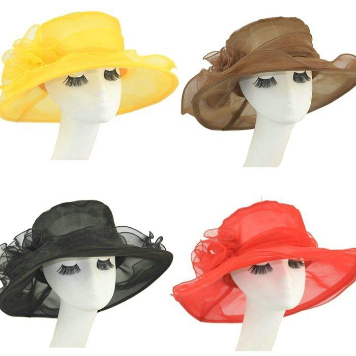 Ladies Wide Brim Hats Kentucky Derby Hat For Women Fashion Church Wedding  Bridal Dress Cap Women S Beach Caps Outdoor Sun Protection Rain Hat Hats In  The ... 2ebfcaa7376e