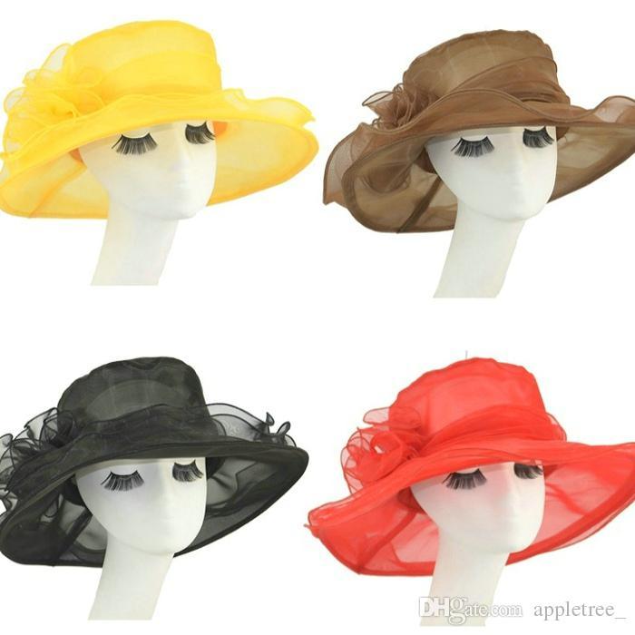 Compre Sombreros De Ala Ancha De Las Señoras Kentucky Derby Sombrero Para  Mujer Moda Iglesia Boda Nupcial Del Casquillo De La Playa De Las Mujeres  Gorras De ... 92e7875624c