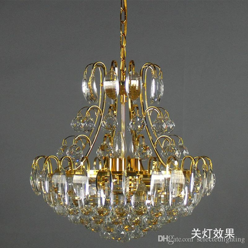 Luxury Chandeliers K9 Crystal Pendant Lamp Gold Chandelier Lighting E14 Hanging Light For Bedroom Shade Copper