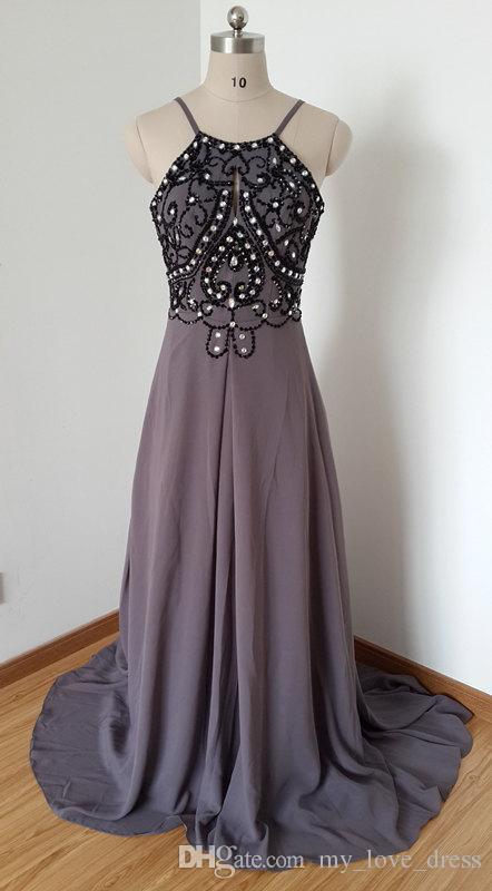 A-line Sexy Backless senza spalline cinghie grigio viola in rilievo lungo abito da ballo in chiffon con il treno lungo