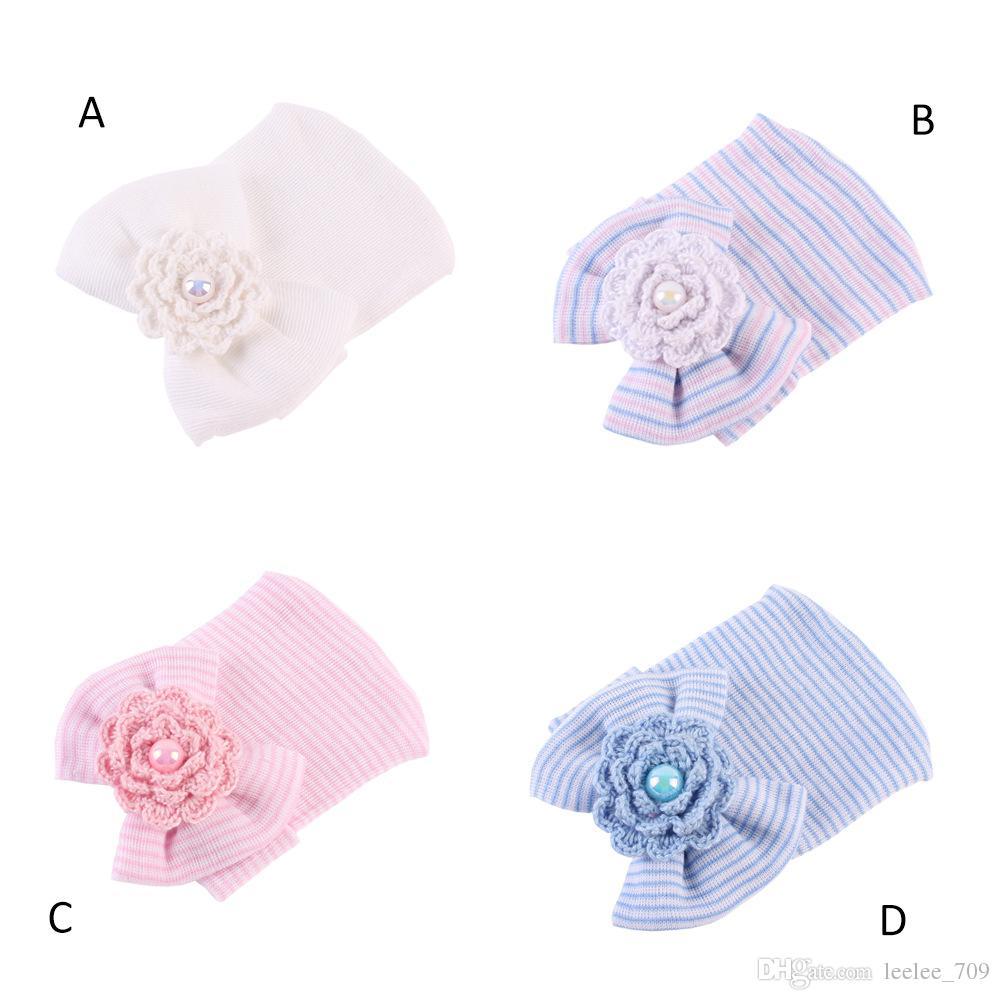 Baby Infant Bow Flower Hat Newborn Baby Pearl Beanie Crochet Caps Baby Girls Boys Winter Warm Cotton Stripe Headwear Hair Accessories BH02