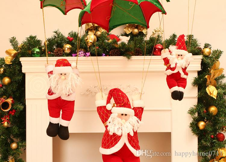 hot christmas home ceiling decorations parachute santa clausdraws a rope santa claus new year hanging pendant christmas decoration supplies kid birthday