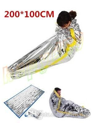 hot first aid Outdoor life-saving deal Portable Waterproof Reusable Emergency Rescue Foil Camping Survival Sleeping Bag 200*100CM