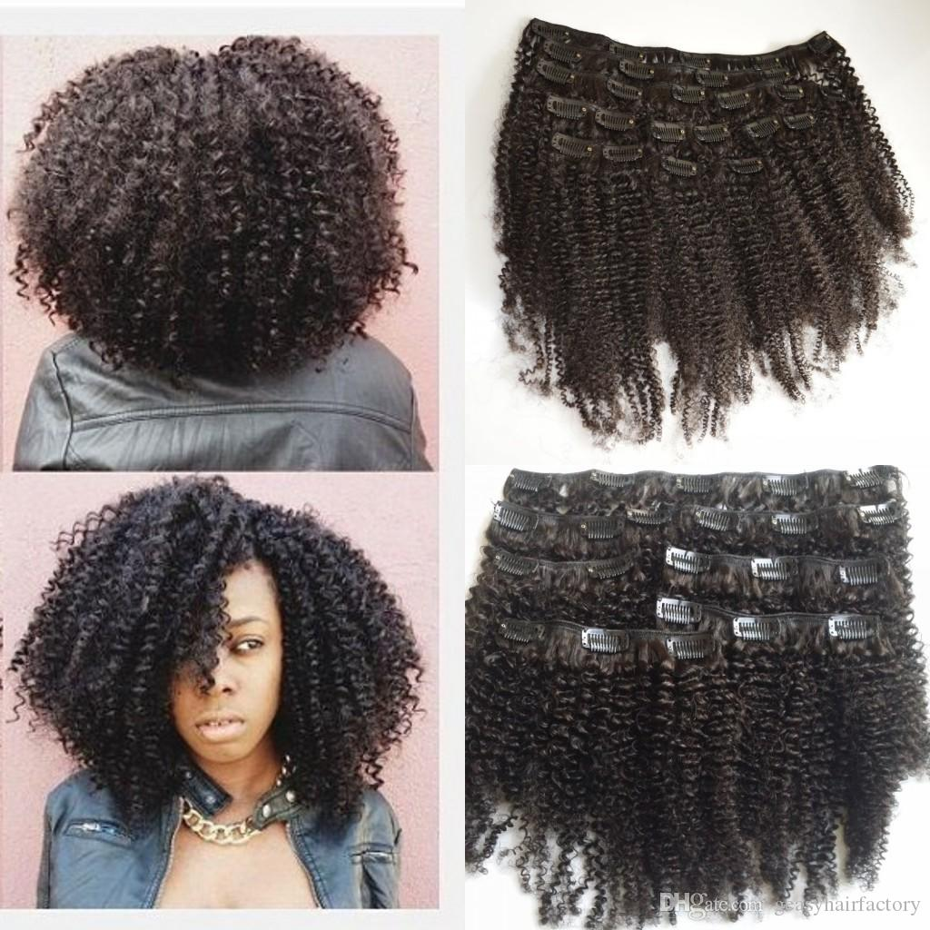 Afro Kinky Curly Clip In Human Hair Extensions Brazilian Curly Hair