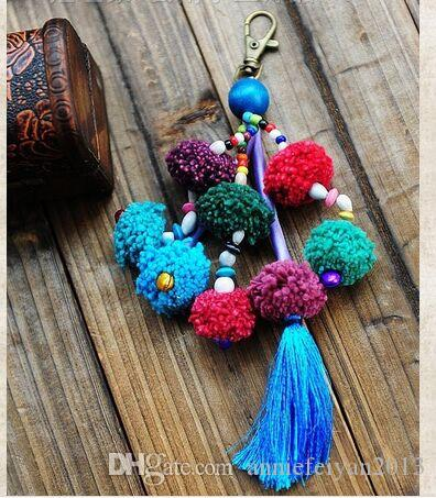 Fashion Crafts Gift Birthday Gifts Ethnic Style 8pcs Balls Tassels Keychains Bag/Mobile Hanging Chains Fashion Jewelry Accessories