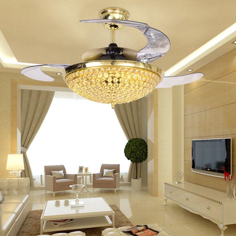 42-дюймовые современные потолочные вентиляторы огни 220V 110V Удалить Управление невидимыми вентиляторами вентилятора с кристаллическим освещением