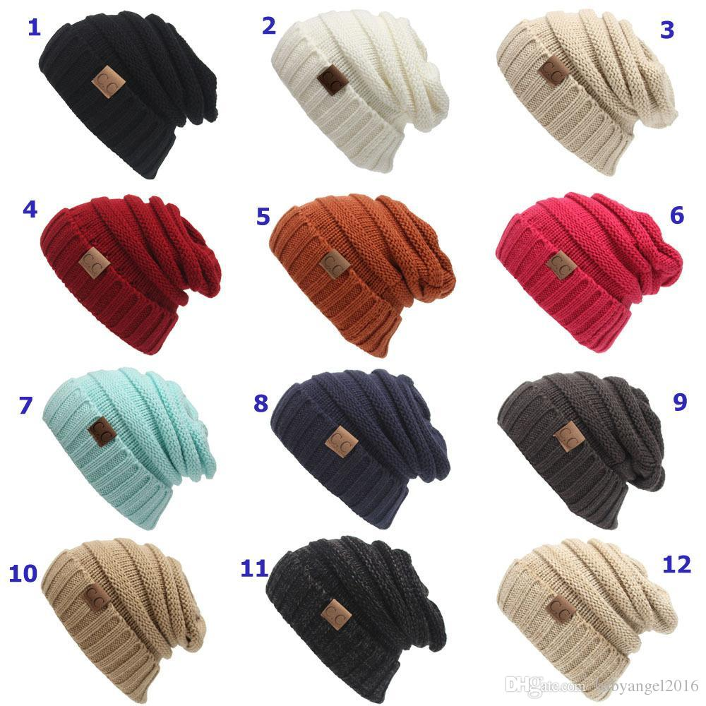 bc6c34d4752 Winter Knitted Woolen CC Trendy Hat Label Fedora Luxury Cable Slouchy Hats  Fashion Beanies Thick Warm Hat Outdoors 2017 New Mens Women Cool Beanies  Beanie ...