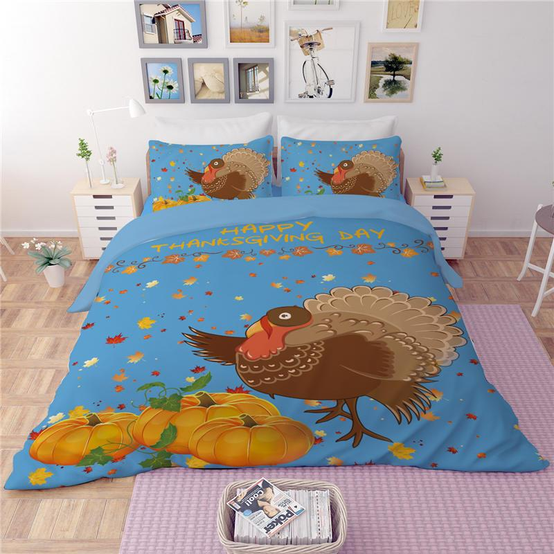 Happy Thankgiving Day Bedding Set Duvet Cover Single Twin Full Queen king Size Pumpkin Bed Cover Turkey Maple Leaves Bedspread Blue Coverlet