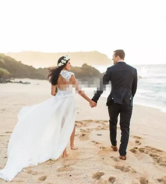 Bohemian Beach Overskirt Wedding Dress Sweetheart Neck Capped Sleeve Open Back Sheah Short White Lace Tulle Custom Bridal Gown