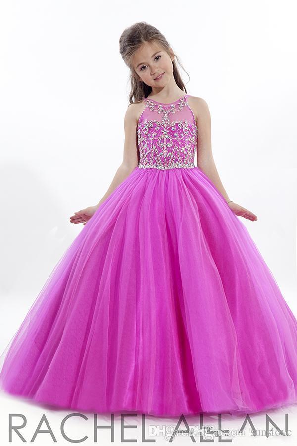 Compre 2017 Princesa Boda Niño Fuschia Pageant Vestidos De Baile ...