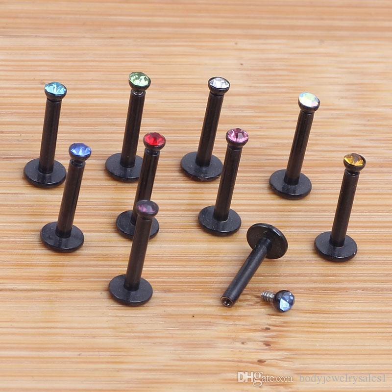 16G negro de acero inoxidable internamente roscado cristal Labret labio anillo Ball Stud barbilla Piercing joyería del cuerpo