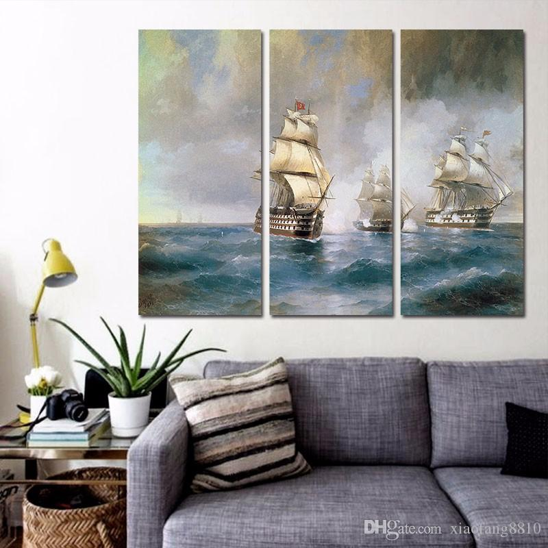 Retro Fashion sail boat decoration sea wall art picture poster Canvas Painting for children kids living room unframed