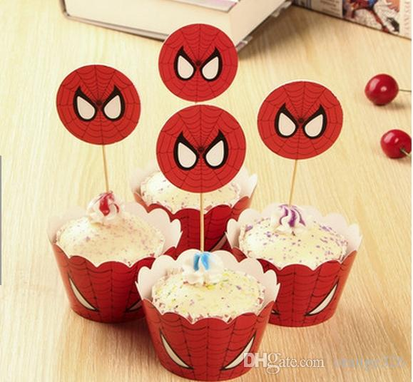 Red Spider Man Paper Cupcake Wrappers Cup Cake Toppers For Kids ...