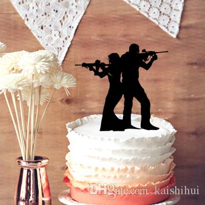 funny cake topper for wedding anniversary rifle with gun wedding