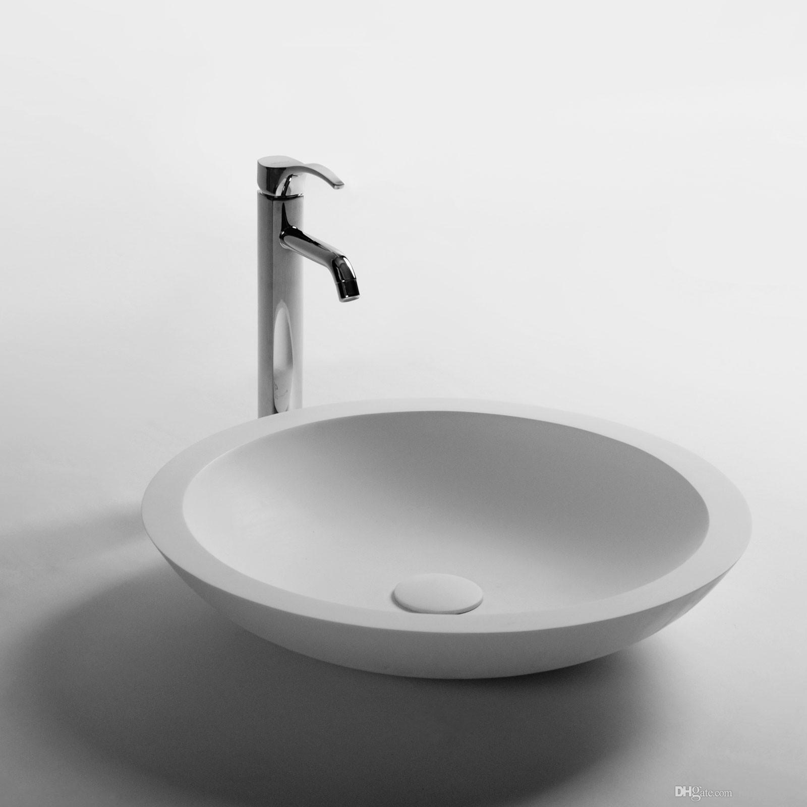 Round Bathroom Solid Surface Stone Wash Basin Above Counter Matt White Or Glossy Laundry Vessel Sink RS3856