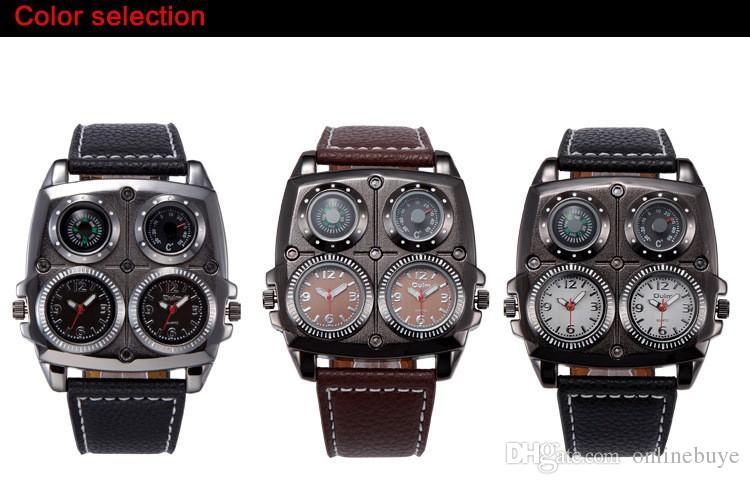Neue Ankunft Mens OULM 1140 Top-Marken-Uhren Hochwertiges Leder Doppel-Japan Movt Quartz Rechteckige Militäruhr Schwarz
