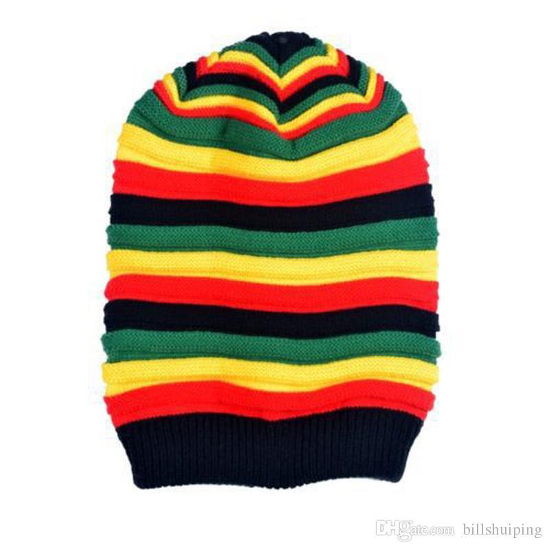 Men Women Rasta Visor Hat Fashion Unisex Beanie Skull Cap Stripe Jamaica Reggae knitted hat hot