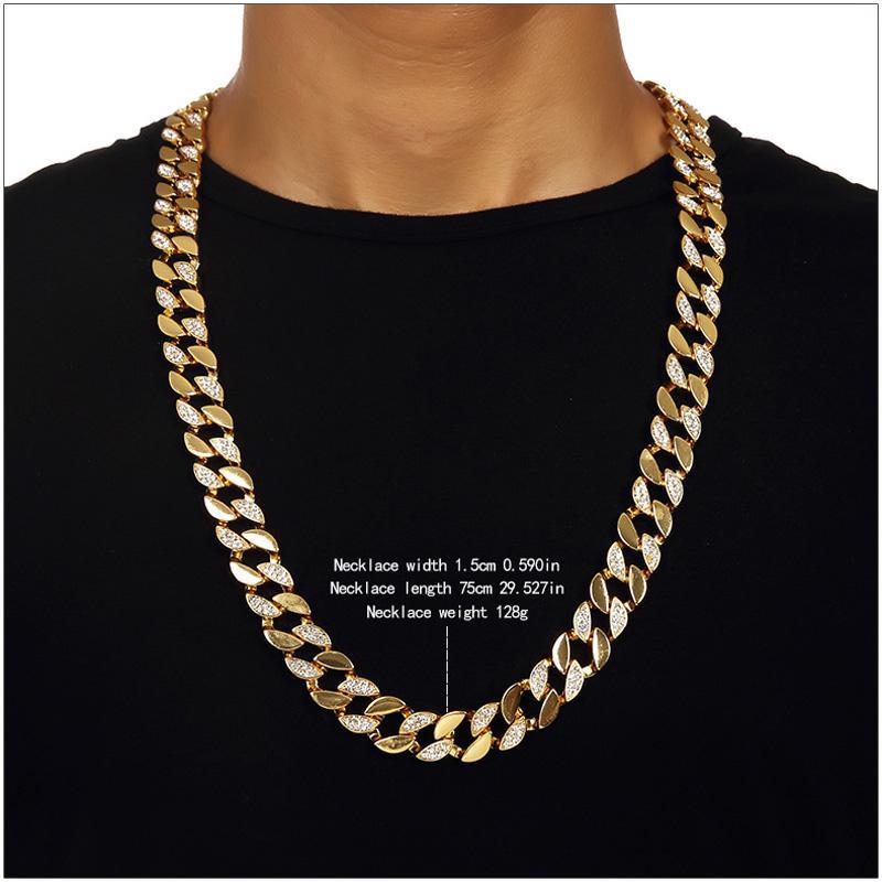 128g Ağır 24 K Katı Altın Kaplama MIAMI KÜBA LINK Ekstra kaba Abartılı Parlak Diamante Kolye Hip Hop Güzel Takı Hipster Erkekler Zincirler