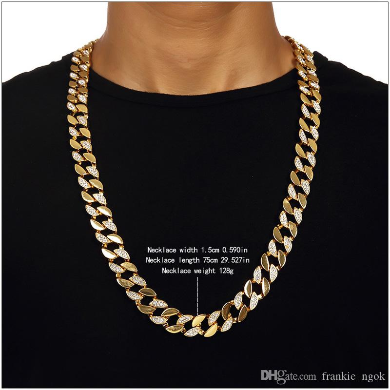 Men Hip Hop ICED OUT 18K Gold Plated W/CZ Curb Miami Cuban Link Chain Necklace & Bracelets Bling Bling Jewelry Set