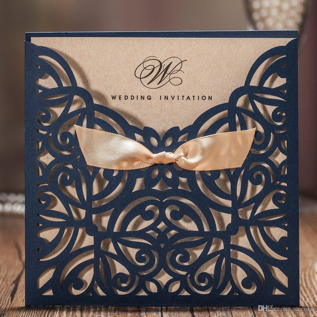 Wishmade Marineblau Laser Cut Hochzeitseinladungen Karten mit Bowknot Papier Cardstock für Ehe Verlobungsfeier, anpassbar, 50 Stück