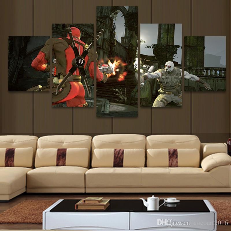5 piezas Modern Home Decor impreso para la sala de lona de la pared del arte Deadpool Comic Painting Cuadros Decoracion