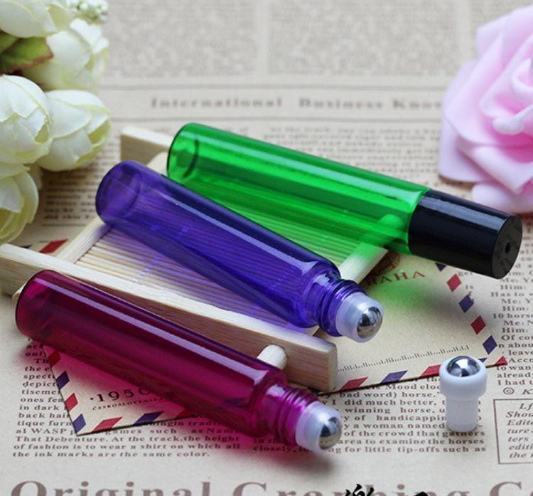 DHL Mix Фиолетовый Зеленый Красный Янтарный цвета 10ML Стеклянные Роликовые Бутылки с шариком из нержавеющей стали и черный Люки для Эфирное масло Жидкость