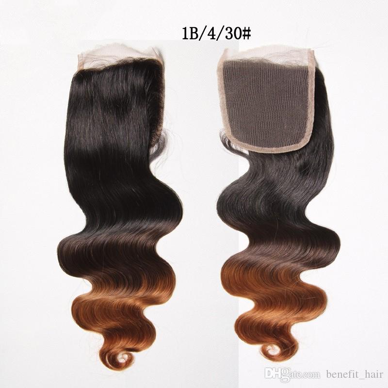 Полный блеск бесплатная доставка DHL 1B 4 30 Ombre бразильские волосы с закрытием шнурка 3 связки сделок с закрытием тела волна волос