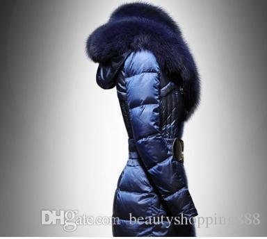 Женский зимний натуральный мех лисы с капюшоном воротника лоскутного меха кролика белой утка вниз проложенной средней длиной куртки с поясом пальто плюс размером 4XL