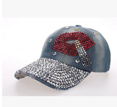 Güneş şapka vizör tam ağız hotfit taklidi şapka sigara kırmızı dudak ağız kovboy şapkası kristal beyzbol şapkası snapback şapka ayarlanabilir kap sivri kap
