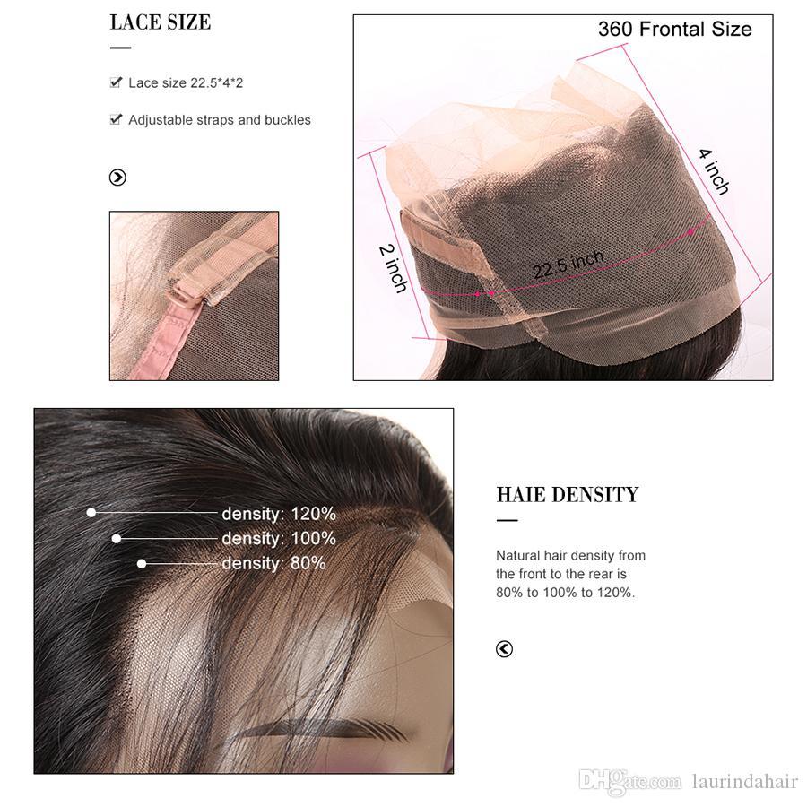 Brezilyalı Demetleri ile Kapatma Saç Düz Örgü 8A Saç Ön Koparıp 360 Frontal Demetleri ile Kulak Kulak 360 Dantel Frontal Kapatma